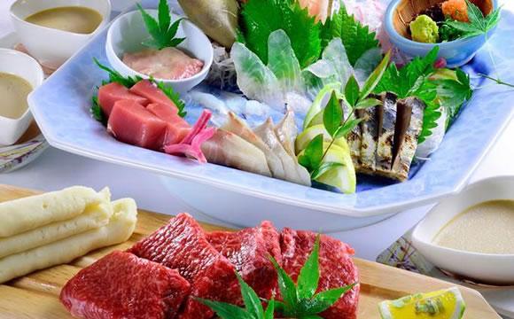玄海鮮魚姿造りと佐賀牛コース 8品 3,500円(税込)