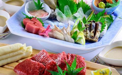 玄海鮮魚姿造りと佐賀牛コース