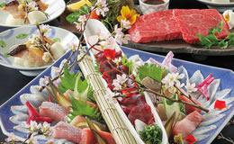 玄海鮮魚と黒毛和牛コース
