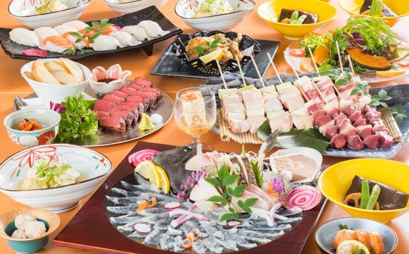 活ヤリイカ姿造りor 本カワハギの姿造りと宮崎牛・甘鯛・にぎり寿司コース