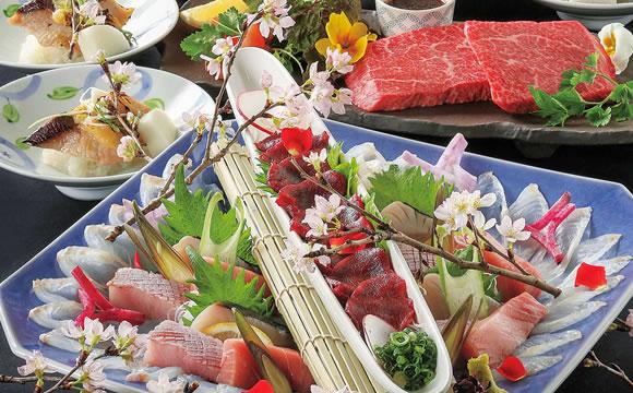 玄海鮮魚と黒毛和牛コース(飲み放題2時間付)8品 5,000円(税込)